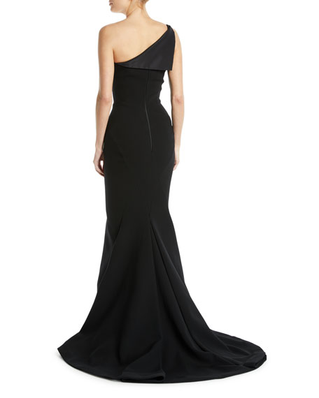 One-Shoulder Fold-Over Bodice Crepe Mermaid Evening Gown