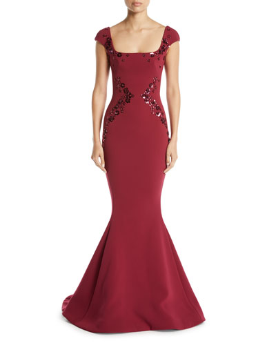 Square-Neck Cap-Sleeve Trumpet Evening Gown w/ Paillette Embroidery