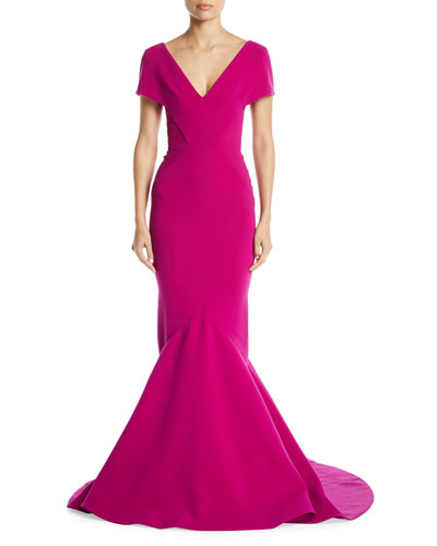 V-Neck Short-Sleeve Mermaid Evening Gown w/ Train
