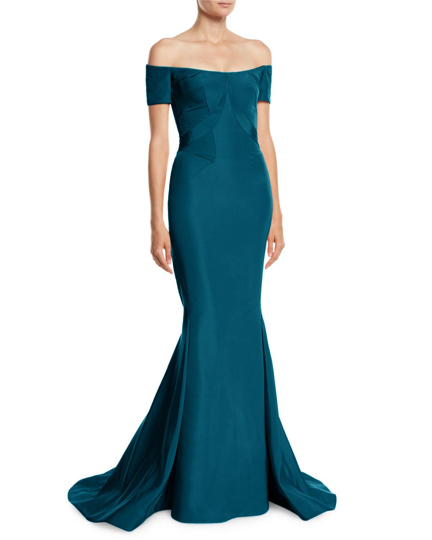 Zac Posen Off The Shoulder Silk Faille Mermaid Evening Gown Neiman