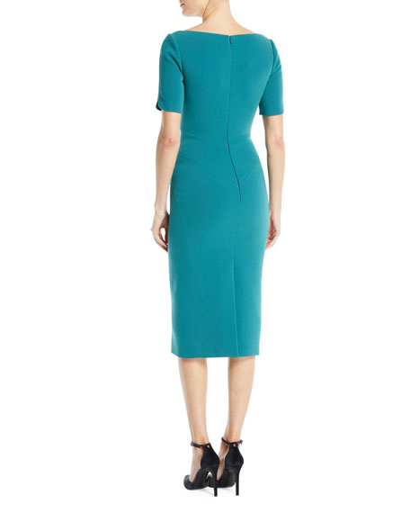 Bateau-Neck Short-Sleeve Fitted Knee-Length Cocktail Dress