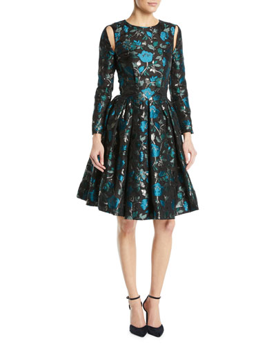 Cutout Long-Sleeve Fit-and-Flare Floral-Jacquard Cocktail Dress
