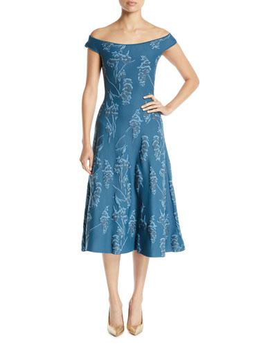 Off-the-Shoulder Floral-Jacquard Knit Cocktail Dress