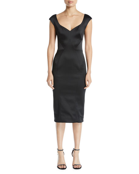 Sweetheart-Neck Cap-Sleeves Stretch-Satin Fitted Cocktail Dress