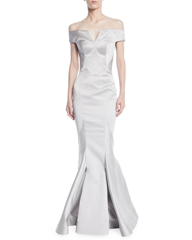 Zac Posen Off-the-Shoulder Mermaid Evening Gown   Neiman Marcus
