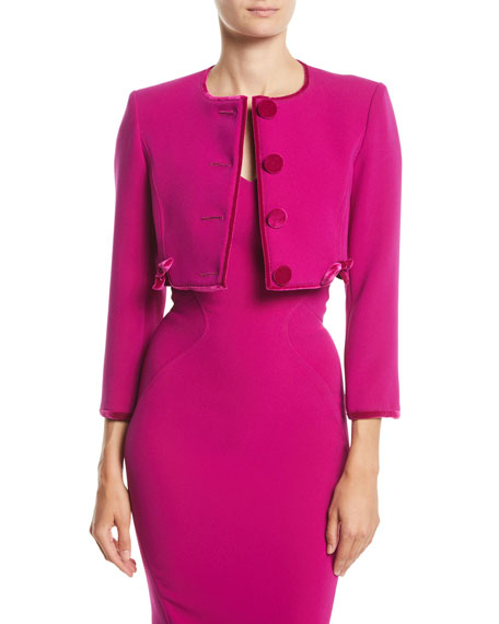 Zac Posen Button-Front Collarless Cropped Cocktail Jacket w/
