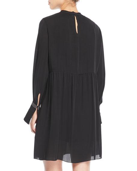 Tie-Neck Monili-Cuff Silk Babydoll Dress