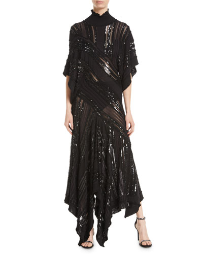Mock-Neck Short-Sleeve Beaded Knit Evening Gown