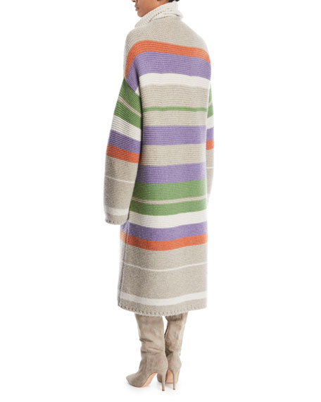 Darlington Open-Front Striped Cashmere Cardigan