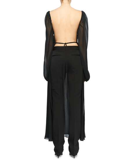 Open-Back Long-Sleeve Square-Neck Silk Boho Top