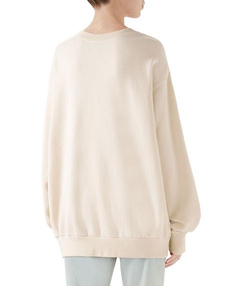 Heavy Felted Cotton Jersey Oversized Sweatshirt w/ Interlock GG Print