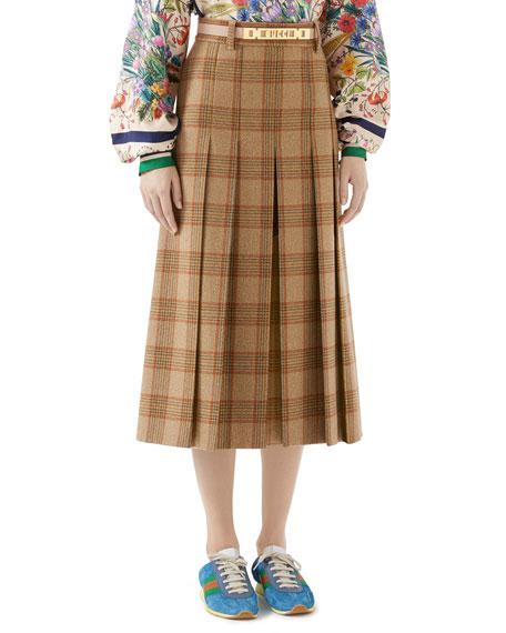 Pleated Hunting Check Wool Midi Skirt w/ Leather Belt