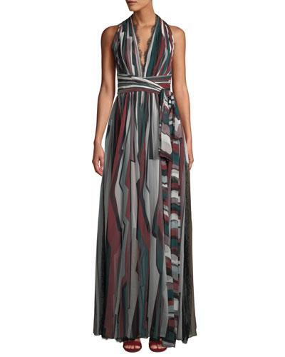 V-Neck Sleeveless Striped Long Silk Dress w/ Lace Trim