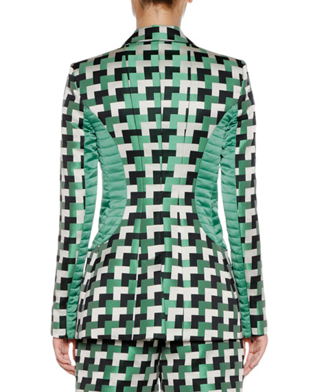 Double-Breasted Geometric-Jacquard Blazer with Quilted Detail