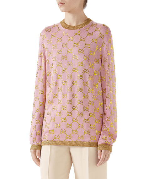 Gucci GG Beaded Jacquard Crewneck Fine Wool Sweater
