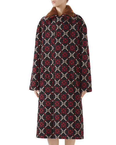 GG Jacquard Single-Breasted Calf-Length Wool Coat
