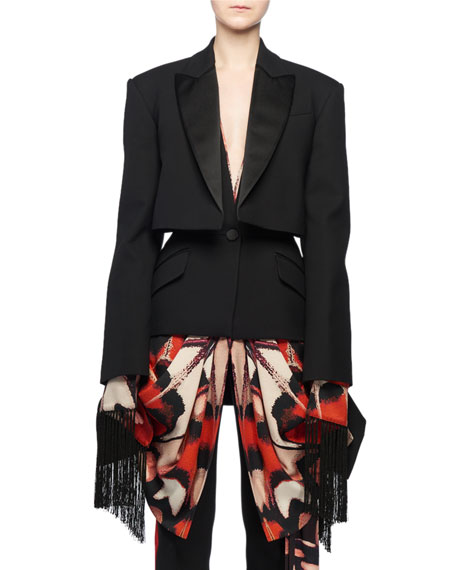 Alexander McQueen Scarf-Draping Fringe-Hem Trompe-l'oeil Layered