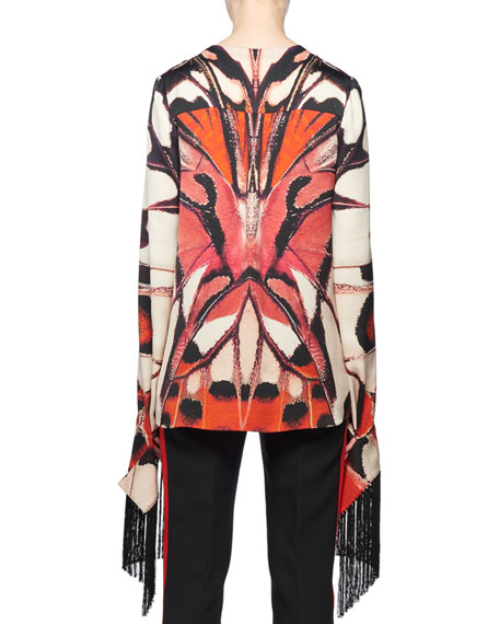 Plunging Long-Sleeve Scarf Fringe Painted Butterfly-Print Silk Blouse