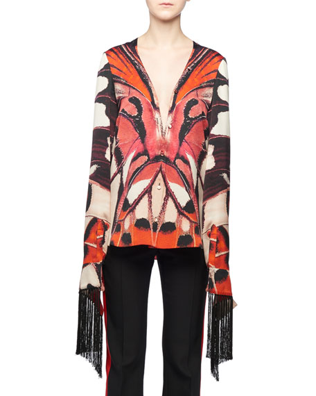 Alexander McQueen Plunging Long-Sleeve Scarf Fringe Painted