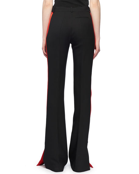 High-Waist Flared-Leg Wool Suiting Pants w/ Contrast Tux Stripe