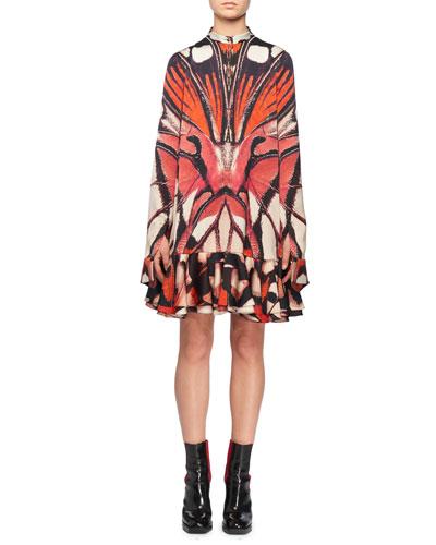 Long-Sleeve Painted Lady Butterfly Print Silk Mini Dress w/ Ruffled Hem