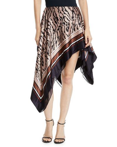 Lynx-Print Asymmetric Silk Skirt
