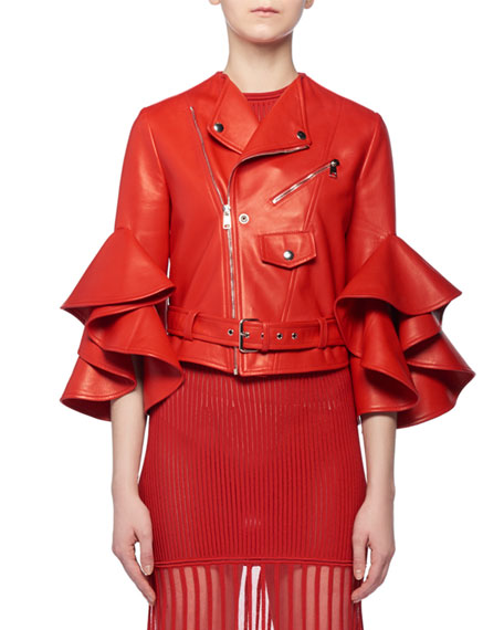 Alexander McQueen Ruffle Elbow-Sleeve Fitted Cropped Lambskin