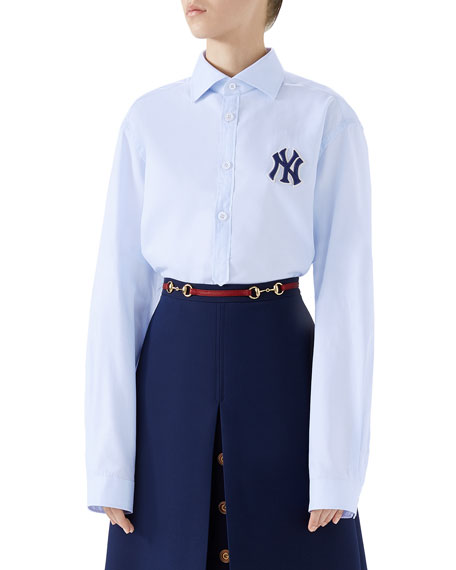 NY Yankees MLB Button-Front Long-Sleeve Cotton Shirt