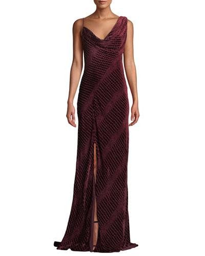 Sleeveless Velvet Cowl Neck Gown