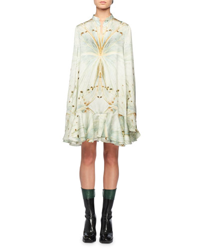 Mandarin-Collar Glass-Wing Print Swing Peplum-Hem Mini Dress
