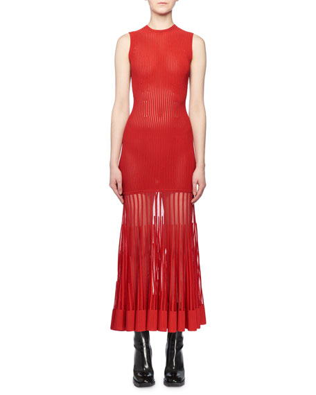 Sleeveless Crewneck Ottoman-Knit Sheer Bottom Long Dress