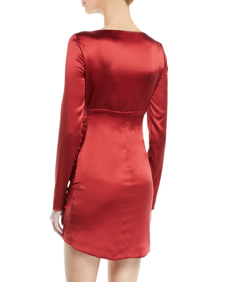 Roberto Cavalli Long Sleeve Ruched Satin Cocktail Dress