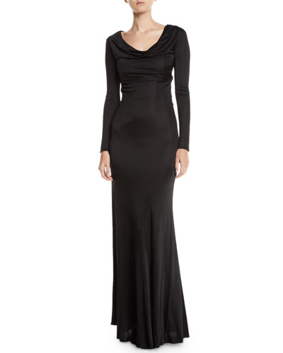Long-Sleeve Cowl-Neck Harness-Back Jersey Gown