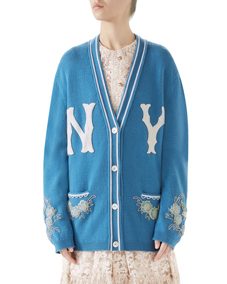 Gucci NY Yankees V-Neck Long-Sleeve Wool Cardigan with