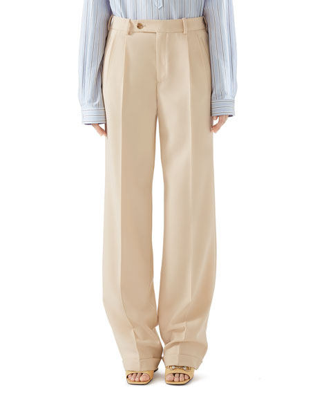 Masculine Straight-Leg Cuffed Wool Pants