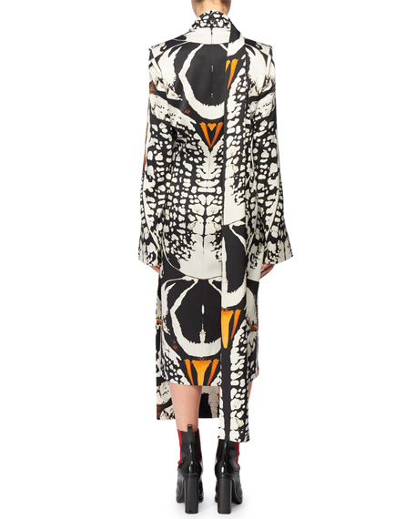 Split Long-Sleeve Exploded Bug Print Silk Sheath Dress w/ Attached Scarf