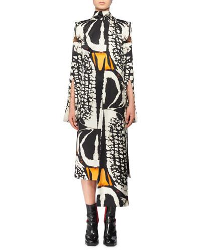 Split Long-Sleeve Exploded Bug Print Silk Sheath Dress w/ Attached Scarf