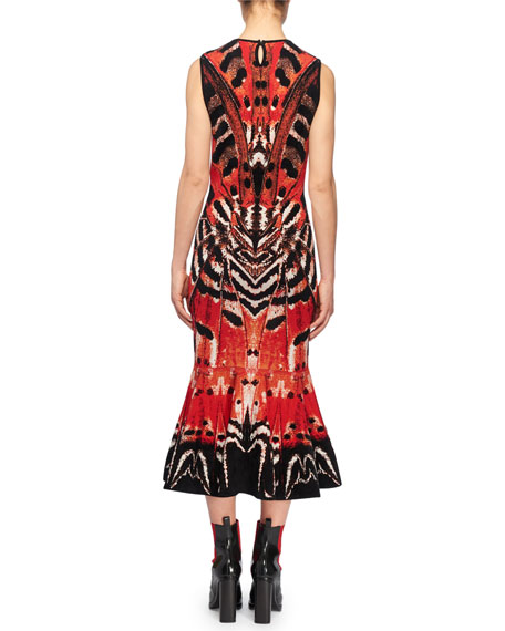 Sleeveless Crewneck Engineered Butterfly Jacquard Flared-Hem Dress