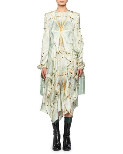 Jewel-Neck Scarf Long-Sleeve Glass-Wing Print Silk Dress