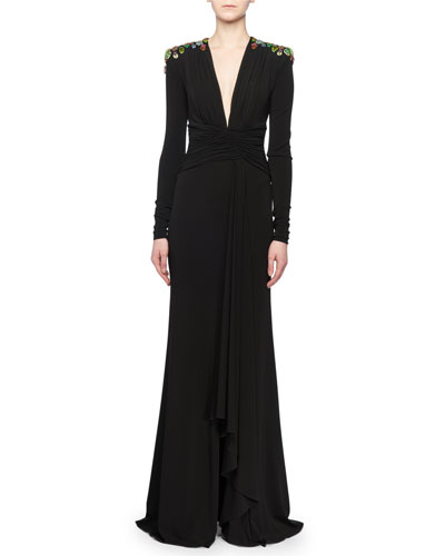 Deep-V Long-Sleeve Ruched Jersey Evening Gown w/ Bug Embellishment