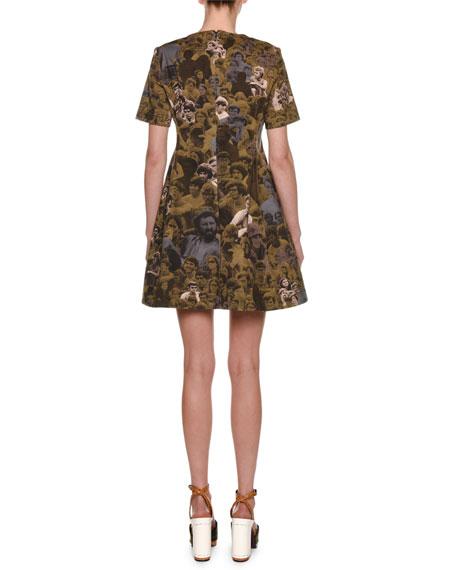Short-Sleeve Photo Camo-Print Cotton Woven A-Line Mini Dress