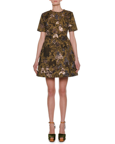 Short-Sleeve Photo Camo-Print Cotton Woven A-Line Mini Dress