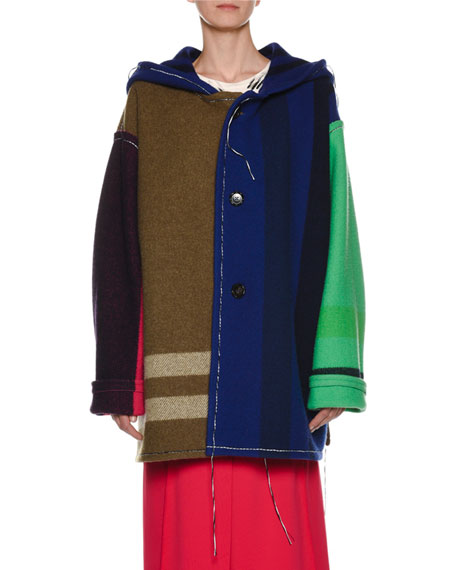 Button-Front Yarn-Dyed Hooded Colorblocked Blanket Coat