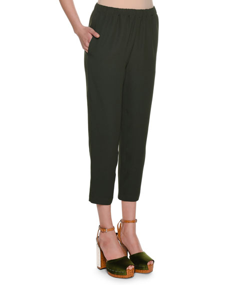Cropped Straight-Leg Woven Pants
