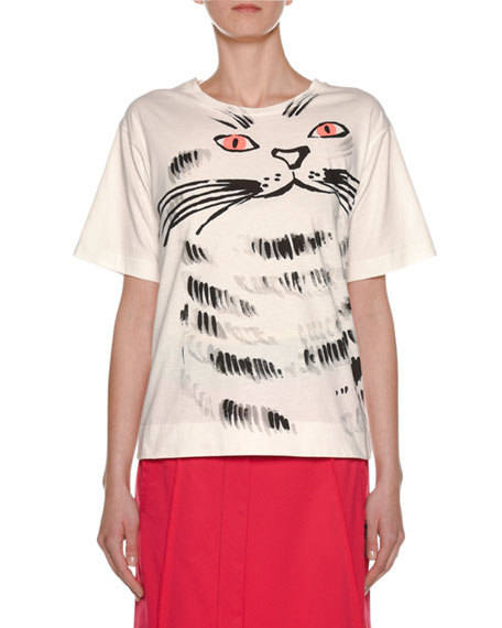 Cat-Face Print Cotton Jersey T-Shirt