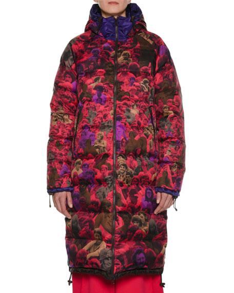 Photo Camo-Print Reversible Knee-Length Puffer Coat