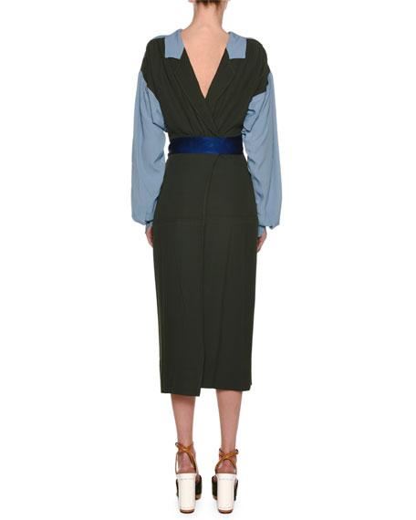 Long-Sleeve Bicolor Self-Belt Ankle-Length Crepe Dress