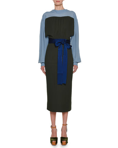 Long-Sleeve Bicolor Self-Belt Ankle-Length Crepe Dress
