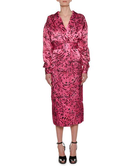 Long-Sleeve Cat-Print Reverse Satin Ankle-Length Dress