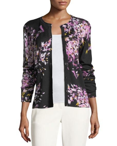 Floral-Print Wool/Silk Cardigan